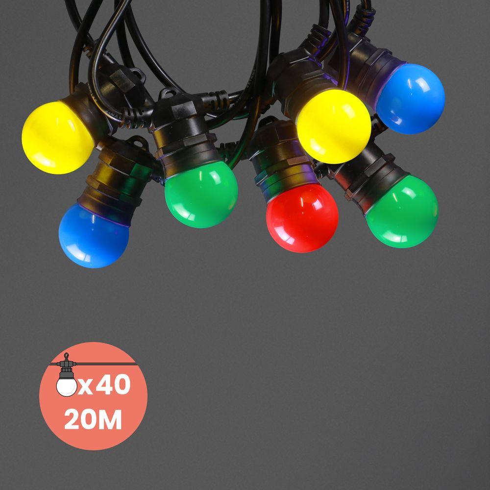 Guirlande Guinguette IP65 20M 40 Bulbes Multicolores