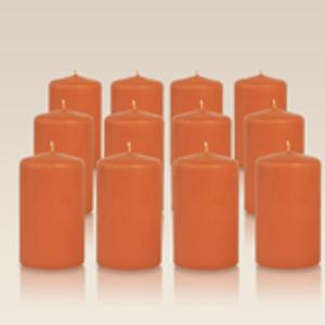 Pack de 12 bougies cylindres Citrouille 6x10cm