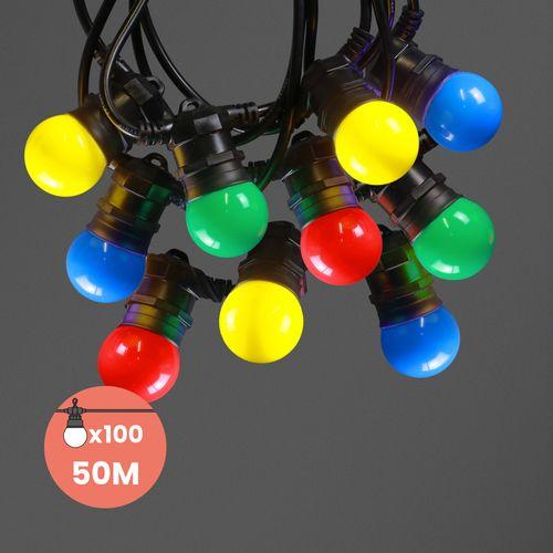 Guirlande Guinguette IP65 50M 100 Bulbes Multicolores