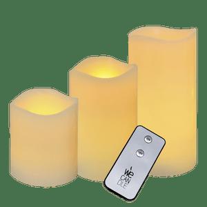 Pack de 3 bougies LED finition vagues avec télécommande