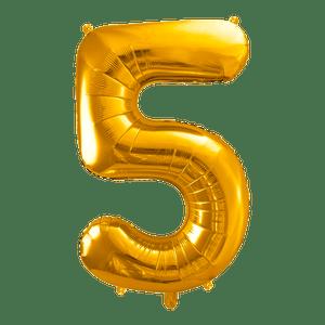 Ballon Chiffre 5 Or 90 cm