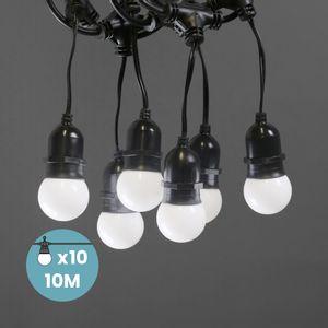 Guirlande Guinguette Pendante Ampoules Remplaçables Blanche 10 m
