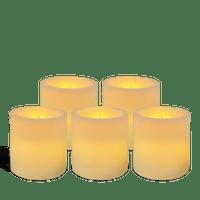 Pack de 5 bougies pilier LED Ivoire 7x7,5cm