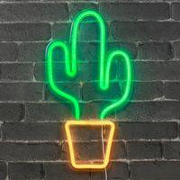 Lampe Neon Cactus Vert et Orange 47 cm