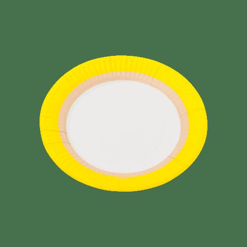 Assiette carton bicolore jaune x12