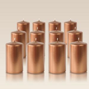 Pack de 12 bougies cylindres Bronze 6x10cm