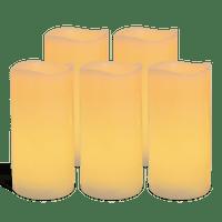 Pack de 5 bougies Vagues LED Ivoire 7x15cm