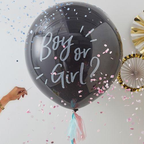 Ballon Gender Reveal Party Boy or Girl Noir et Blanc 90 cm