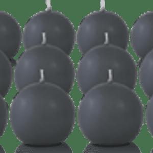 Pack de 12 bougies ronde Gris Anthracite 7cm