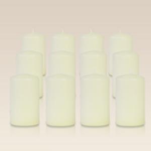 Pack de 12 bougies cylindres Ivoire 6x10cm