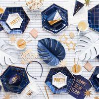 Assiette Carton Géométrique Bleu Navy x6