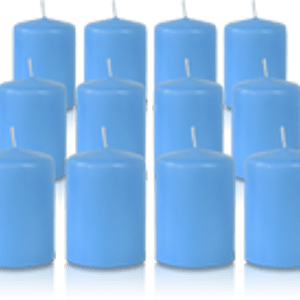 Pack de 12 bougies votives Bleu Turquoise 5x7cm