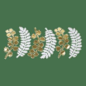 Marque-Place Fougère et Eucalyptus Blanc et Or 30 cm x6