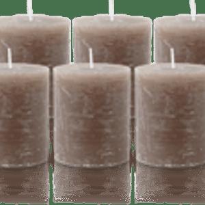 Pack de 6 Bougies Rustiques Taupe 8x7cm