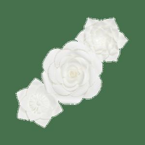 Kit Fleurs En Papier Pure White x3