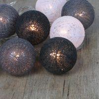 Guirlande Lumineuse Petites Boules Coton Gris