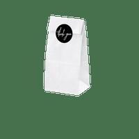 Sachet Kraft Blanc 18 cm + étiquettes thank you x6