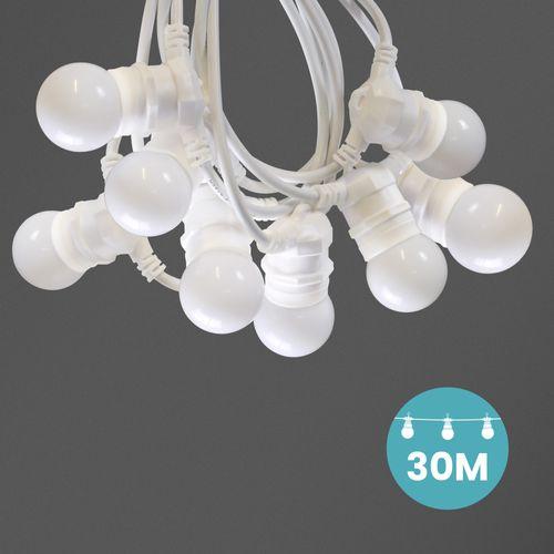 Kit Guirlande Guinguette 30m IP 65 Cable Blanc Blanche