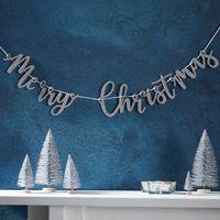 Guirlande De Noel Carton Merry Christmas Argent 1 m