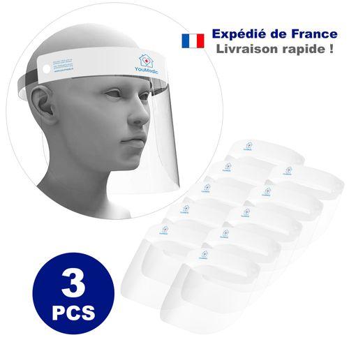 Lot de 3 Visieres de Protection Transparente 32x22