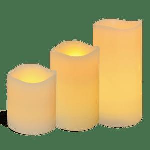 Pack de 3 bougies LED finition vagues