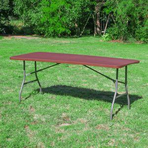 Table Pliante 180x74 cm Effet Rotin