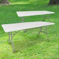 Lot de 2 Tables Pliables 180x74 cm Blanc