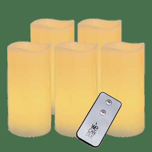 Pack Pilier LED vagues ivoire 7.5x15cm avec Télécommande