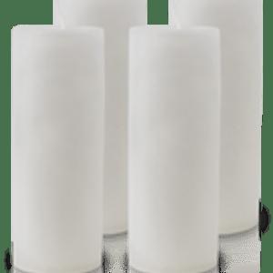 Pack de 4 Bougies Marbrées Blanche 18x7cm