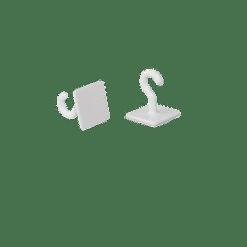 Crochet Adhésif Plastique Blanc x20