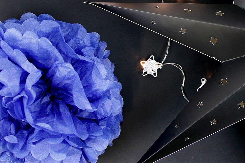 Pompons Bleu Lavande 30cm x2