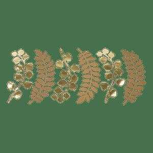 Marque-Place Fougère et Eucalyptus Naturel et Or 30 cm x6