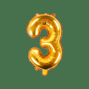 Ballon Chiffre 3 Or 35 cm
