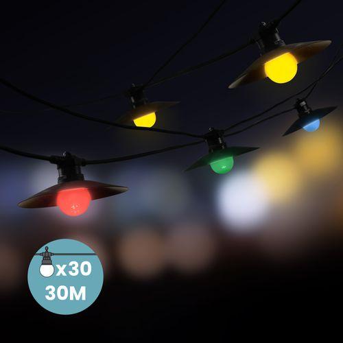 Kit Guirlande Guinguette 30m IP 65 Multicolore avec Coupelles