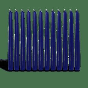 Pack de 12 chandelles Bleu Nuit 23x25cm