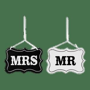 Panneaux Mr and Mrs Noir et Blanc 14,5cm