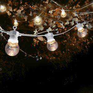 Guirlande Guinguette 10M Câble Blanc Bulbes Transparent avec Prise