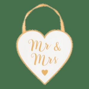 Panneau Coeur bois Mr & Mrs Blanc ruban or