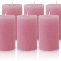 Pack de 6 Bougies Rustiques Vieux Rose 11x7cm