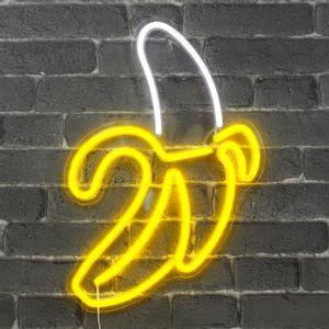 Lampe Néon Banane Blanc et Jaune 47 cm