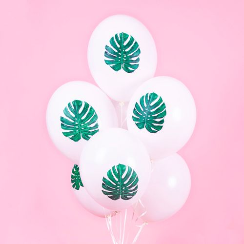 Ballon Latex feuille tropicale monstera Blanc et Vert x6