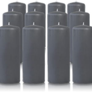 Pack de 12 bougies cylindres Gris Anthracite 6x15cm