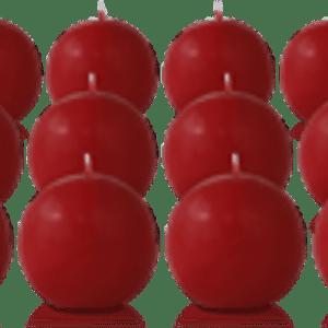 Pack de 12 bougies ronde Carmin 7cm