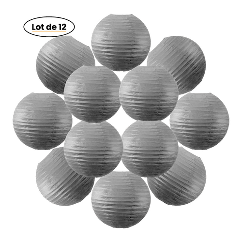 12x Lanterne Papier 30 cm Gris - Suspension Boule Papier 30 cm (12'') type Lanterne Japonaise pour Decoration Mariage - 12 pièces - Le must de la Gamme de Lampions Papier - Notice en Français.
