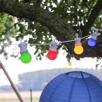 Guirlande Guinguette 3M Câble Blanc Bulbes  Multicolore Avec Prise
