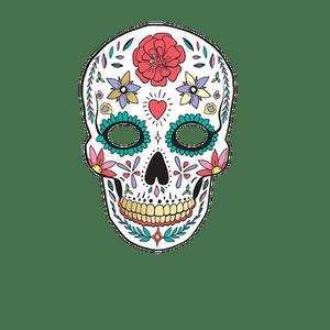 Masque Photo Booth Carton Dia de Los Muertos Blanc