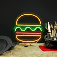 Lampe Néon Burger Jaune 30 cm