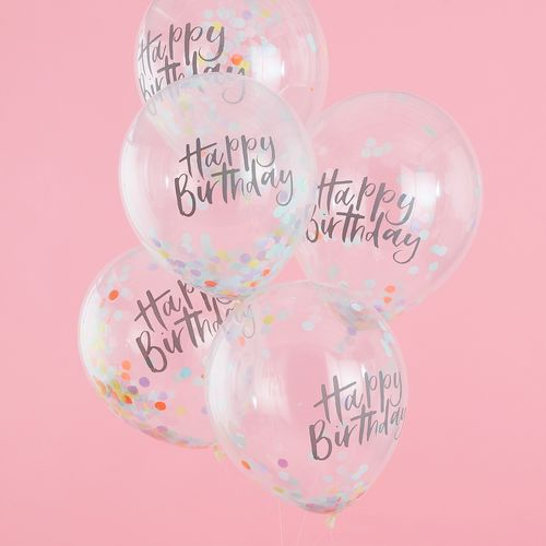 Ballon Confettis Happy Birthday Transparent et Multicolore x5