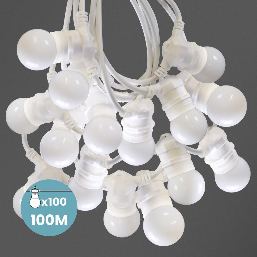 Kit Guirlande Guinguette 100m IP 65 Cable Blanc Bulbes Blancs