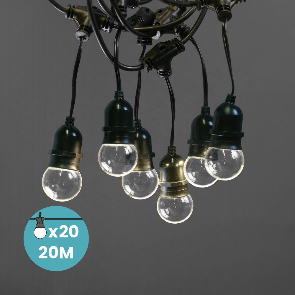 Guirlande Guinguette Pendante Ampoules Remplaçables Transparente 20 m